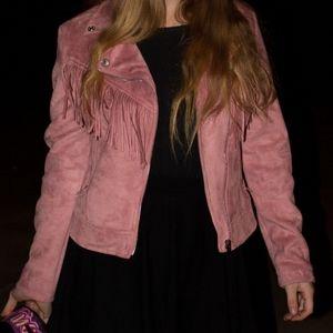 Pink faux suede fringe jacket